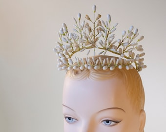 1902 Wax Blossom Tiara Vintage Wedding Headpiece, Victorian Orange Blossoms, Vintage Turn of the Century, Wax Wedding Headpiece