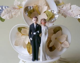 Art Deco Wedding Bells Cake Topper Horseshoe Good Luck Dove Vintage 1930's Wedding Cake Topper 1930s Wedding Gown