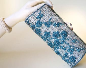 Something Blue Convertible Clutch Bag Vintage 1960's Beaded and Sequinned Blue Sparkle Bag Made in Hong Kong