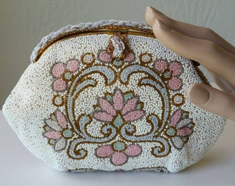 Beautiful Hand Beaded French Vintage Art Deco Beaded Evening Bag with Gold Frame Made in France