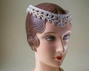 Diamante Headpiece 1940's Post War Beaded Wedding Crown Headpiece 40's WWII Era