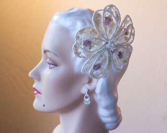 Something Blue Decorative Hair Comb 1950's Hand Painted Chantilly Lace Flower Headpiece with Czech Glass Leaves Vintage 1950's, Restored