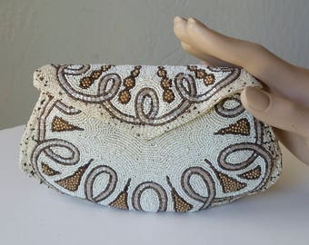 1920s Art Deco Pouchette Clutch Made in France French Beaded Evening Bag Hand Beaded French Vintage