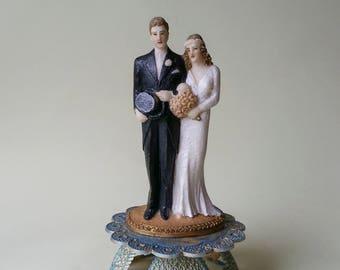 RARE Pressed Salt Wedding Cake Topper Vintage 1930's with New Blue Gold Base Unusual Vintage Wedding