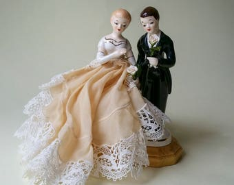 Vintage 1950's Porcelain Wedding Cake Topper with Handmade Fimo Roses and Gold Base