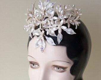 Vintage 1950's Wax Wedding Crest Spray Vintage 1950s Orange Blossom Starflowers with Swarovski Vintage 50's Hair Wreath