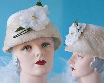 Garden Wedding Bucket Hat Vintage 1960's Maline with Vintage Camellia Flower