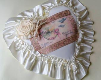 Ringbearer's Pillow French Ribbon Lovebirds and Wedding Rings Buttercream Satin