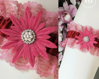 Scarlet Satin Garter with Vintage 1950's Millinery Anenome Flower and Raspberry Lace Bridal Garter Steampunk Pin-Up Garter #29