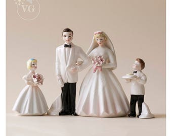Vintage 1950's Wedding Figurines Wedding Cake Topper 1950's Wedding Party- Bride, Groom, Ringbearer and Flower Girl- Perfect Set