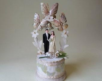 1948 J. Levinsohn Vintage Wedding Cake Topper, Restored with Cultured Pearls, Weddings Rings and Butterflies, Vintage 1940's Wedding