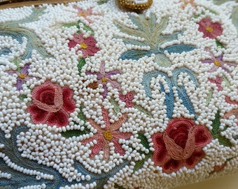 Stunning Hand Beaded French Vintage Tambour Clutch Bag Hand Made in France 1920's 1930's French Beaded Evening Bag Perfect Wedding Bag