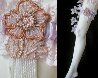 Custom Silver Pink Wedding Garter Beaded French Applique and Fringe