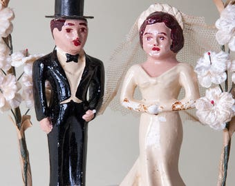 Vintage 1940s Folk Art Cake Topper Vintage Wedding Double Happiness Bride Groom 1920's Celluloid Flowers, Marriage Banner and Ivy Sparkle