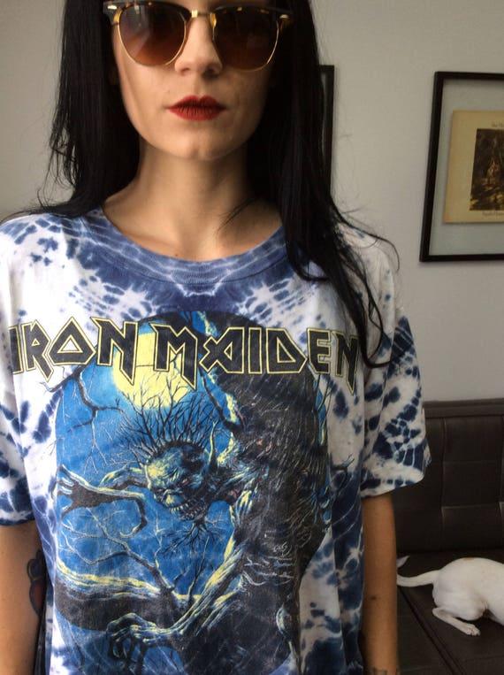 90s Vintage Tie Dye Iron Maiden Chupacabra Tee - image 2