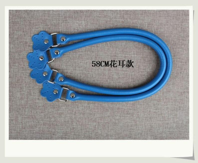 Sky Blue Micro fiber Leather Straps Gray White Handles Handbag Parts A Pair Portable Snapper