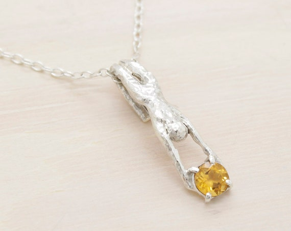 Handmade silver minimal  necklace with citrine quartz, dainty necklace with chain and a figure miniature