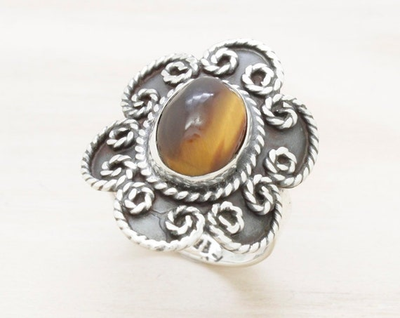 Vintage silver Taxco ring with tiger eye, vintage ring from Mexico with gemstone