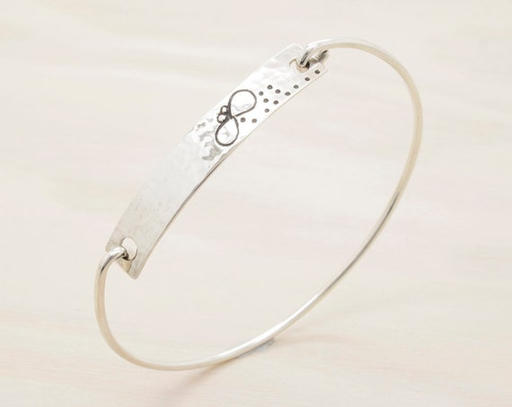 Handmade silver fly  bangle with texture, bracelet with texture and insect engraved