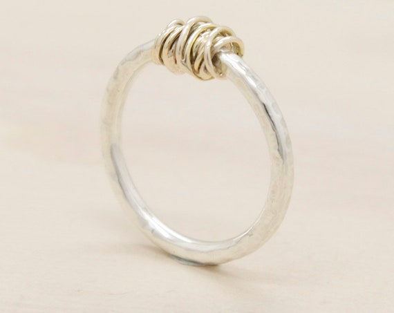 Handmade silver minimal  ring with gold, ring with texture and 9k gold thread nut