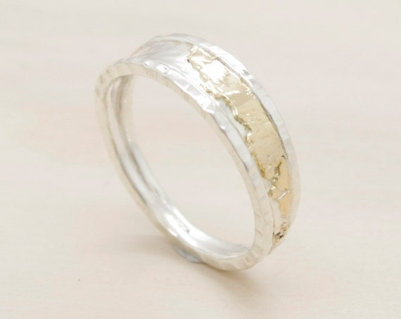 Handmade silver minimal  ring with gold, ring with texture and 9k pink gold sheet