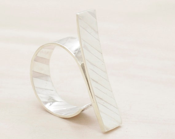 Handmade silver minimal   ring with texture, bar ring with geometrical texture