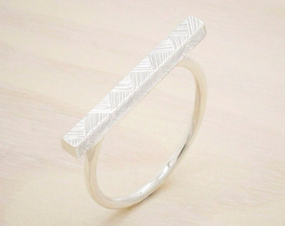 Handmade silver minimal  ring with texture of engraved geometric pattern , silver bar ring