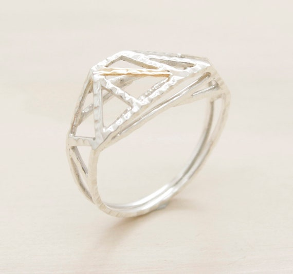 Handmade silver minimal  ring with gold, geometric ring with texture and 9k gold