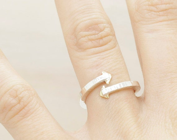 Gold handmade silver minimal  ring with gold triangles, silver ring with texture and 14k gold