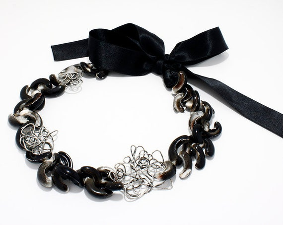 Handmade silver black shell necklace with silver thread, oversize choker with texture and black lace