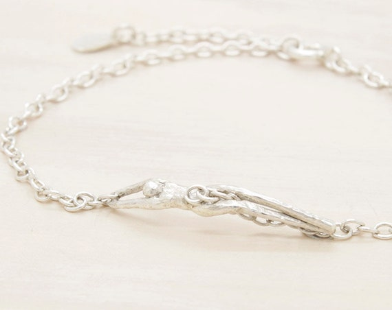 Handmade silver chain bracelet with charm of figure, dainty  bracelet with texture and little man miniature, Submanity collection