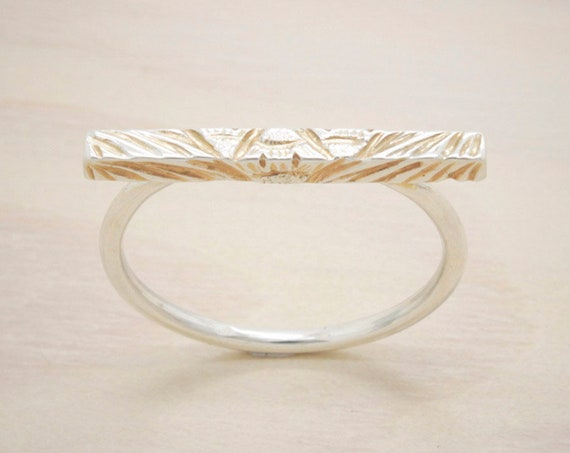 Handmade silver minimal  ring with hand engraved texture and pink gold plated, silver bar ring with gold