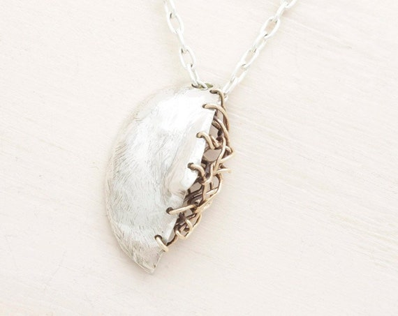 Handmade silver long necklace with abstract cameo, mask pendant necklace with chain and texture pendant