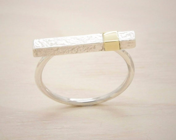 Gold handmade silver minimal  ring with gold, silver bar ring wit and texture 14k gold
