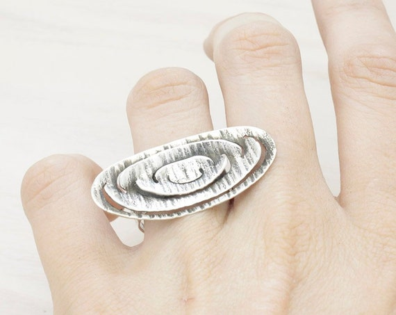 Handmade silver oval ring with texture, minimal   ring with patina