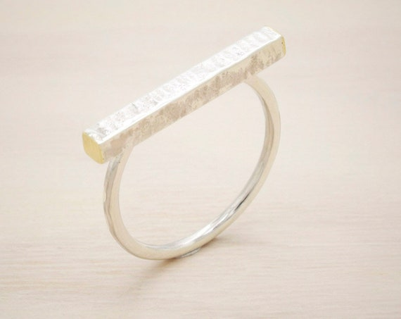 Handmade silver minimal  ring with texture and golden endings, dainty bar ring
