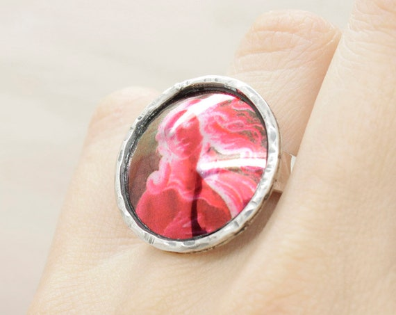 Handmade silver colored round ring with texture and venus Botticelli  painting, adjustable ring