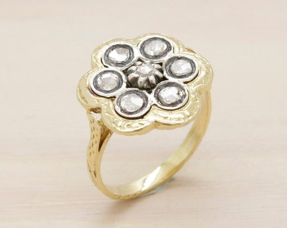 Antique victorian gold ring with natural diamonds from 1880 S XIX, engagement vintage ring 18k gold and diamonds ring