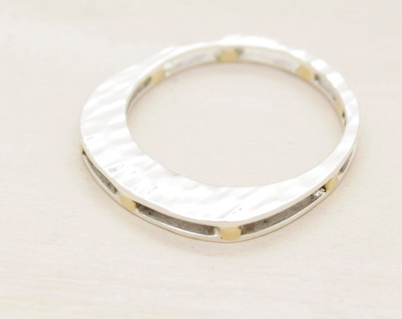 Handmade silver minimal  ring with golden bars, silver ring with texture