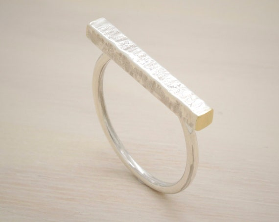 Gold handmade silver minimal  ring with gold, bar ring with texture and 14K gold endings