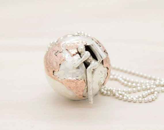 Handmade silver world map necklace with chain, long necklace with world sphere pendant and miniature, Humaniature collection