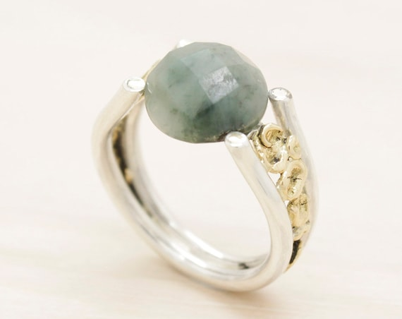 Handmade silver and gold emerald ring with texture, gemstone ring with 18k gold nuggets