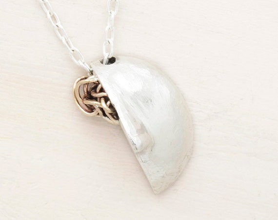 Handmade silver long brain necklace with chain and abstract cameo, long necklace with texture and brain pendant
