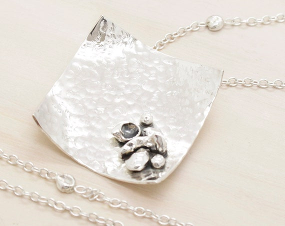 Handmade silver square long necklace with chain and silver nuggets, oversize minimal  necklace with texture and square pendant