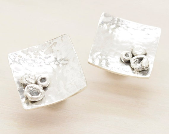 Handmade silver square stud earrings with texture, minimal  earrings with silver nuggets