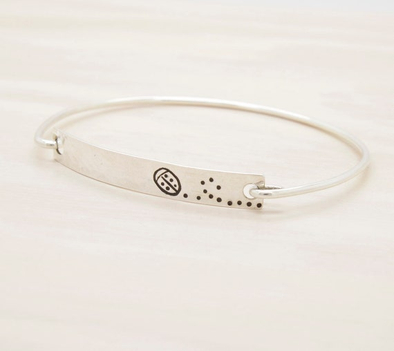 Handmade silver ladybug bangle with texture, bracelet with texture and insect engraved