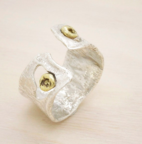 Handmade silver wide ring with texture, minimal  ring with melted texture and golden nuggets