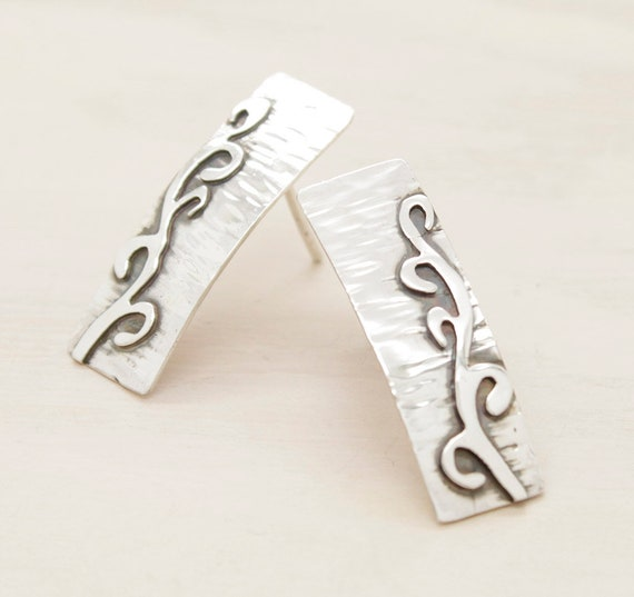 Handmade silver rectangular stud earrings with texture, earrings with fretwork and patina