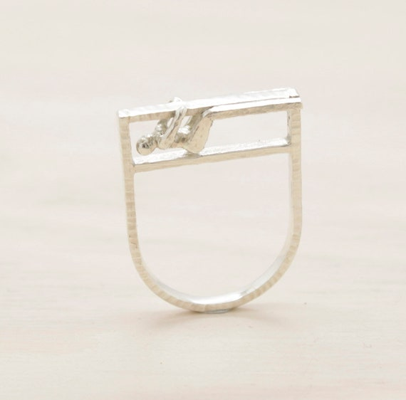 Handmade silver minimal  ring with texture and little man figure, bar ring Submanity collection