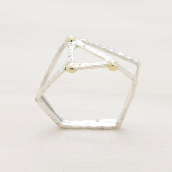 Handmade silver minimal  ring with texture, geometric ring with golden beads